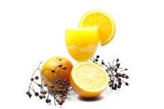 Orange juice and slices of orange isolated on white. For fruit juice for a healthy life Royalty Free Stock Images