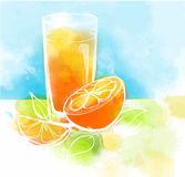 Orange juice with slices of orange and leaves. Watercolor painting. Healthy food concept. Stock Images