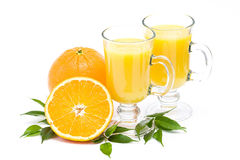 Orange juice and some fresh fruits. On white background Stock Photography