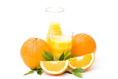 Orange juice and some fresh fruits. On white background Stock Photo