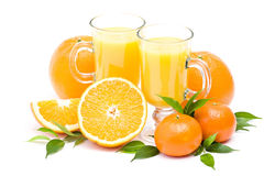 Orange juice and some fresh fruits. On white background Stock Images