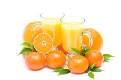 Orange juice and some fresh fruits. On white background Stock Photos