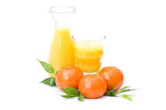 Orange juice and some fresh fruits. On white Stock Photo