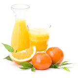 Orange juice and some fresh fruits Royalty Free Stock Images