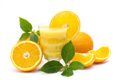 Orange juice and some fresh fruits. On white Stock Photography