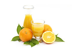 Orange juice and some fresh fruits. Isolated on white Royalty Free Stock Image
