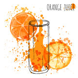 Orange Juice Splash, Aquarellillustration des Vektorhandabgehobenen betrages Orangensaft in skizziertem Glas mit spritzt Lizenzfreie Stockbilder