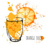 Orange Juice Splash, Aquarellillustration des Vektorhandabgehobenen betrages Orangensaft in skizziertem Glas mit spritzt Stockfoto