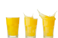Orange juice splash collection on a white Stock Photography