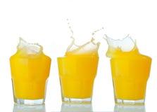 Orange juice splash collection on a white Stock Photography