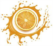 Orange juice splash with many drops. Orange juice splash with drops Stock Illustration