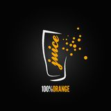 Orange juice splash glass design background Stock Photography