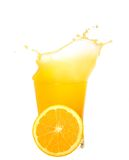 Orange juice splash isolated. On white easy to cut and use in a design Royalty Free Stock Image