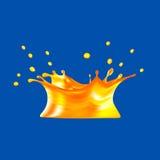 Orange juice splash isolated on blue background. 3d illustration. Royalty Free Stock Photography