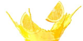 Orange juice splash isolated on white background. orange juice with orange slice stock photo