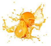 Orange juice splash. Ing with its fruits isolated on white stock photography
