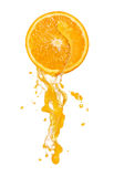 Orange juice splash. Ing with its fruits isolated on white Stock Photos