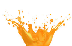 Orange juice splash  on white background Stock Photos