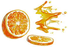 Orange and juice splashes watercolor Stock Photography