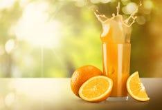 Orange Juice. Juice Splashing Orange Fruit Glass Freshness Royalty Free Stock Image