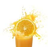Orange juice splashing Stock Photo