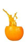 Orange juice splashing isolated on white Royalty Free Stock Image