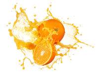 Orange juice splashing Stock Images