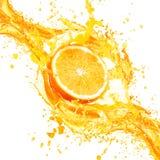 Orange juice splashing with its fruits isolated on white Stock Photo