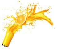 Orange juice splashing with its fruits isolated on white Royalty Free Stock Photo