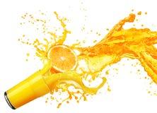Orange juice splashing with its fruits isolated on white Royalty Free Stock Image