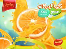 Orange juice. Sweet fruits. 3d vector Stock Photography
