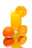 Orange juice and tangerines on a white background Stock Photography