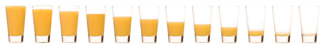 Orange Juice - Time Lapse. Time Lapse of a glass of Orange juice Royalty Free Stock Photo
