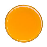 Orange juice top view isolated on white background stock photos