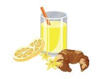 Orange juice and vanilla croissant Royalty Free Stock Image