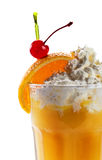 Orange juice with vanilla ice cream and cherry isolated on white Stock Images