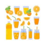 Orange juice vector flat icons set royalty free illustration