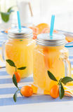 Orange juice in vintage jars Royalty Free Stock Photo