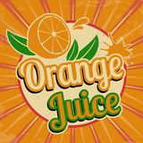 Orange juice vintage poster Stock Images