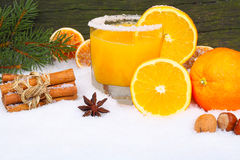 Orange juice, vitamins in winter Stock Images