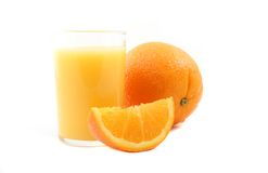Orange juice  on a white background Stock Photos