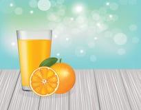 Orange juice on wooden planks. Vector Stock Image