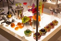 Orange juicers at Macef home show in Milan Royalty Free Stock Photos
