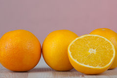 Orange. Juicy orange fruit on the kitchen table Royalty Free Stock Images