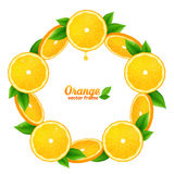 Orange juicy slices with leaves vector round frame Stock Photo