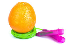 Orange and jump rope isolated Royalty Free Stock Photography