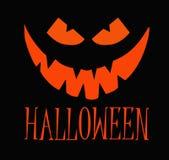 Orange Kürbis Halloweens mit glücklichem Gesicht auf dunklem Hintergrund mit Text Der kleine Junge unzufrieden gemacht lizenzfreie stockfotos