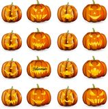 Orange Kürbise 3d Halloween eingestellt Lizenzfreie Stockfotografie