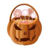 Orange Kürbiskorb, zum der Süßigkeit auf Halloween zu sammeln lizenzfreie abbildung