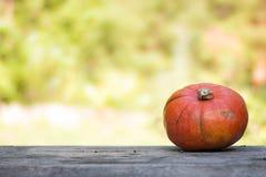 Orange K?rbis liegt auf einem rustikalen Holztisch stockfotografie